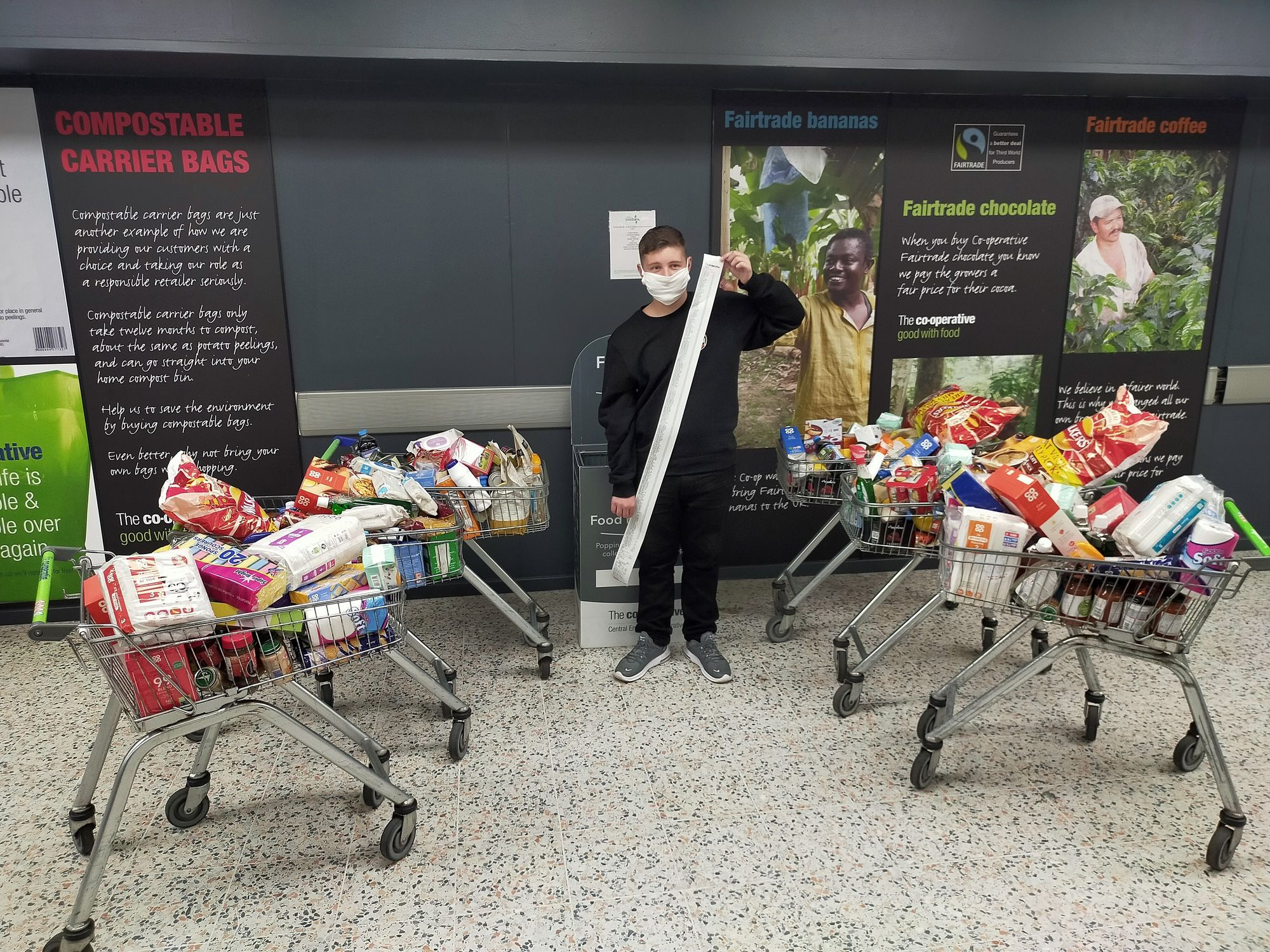 Norfolk teenager donates nearly a quarter of a tonne of food to food bank after dream trip cancelled