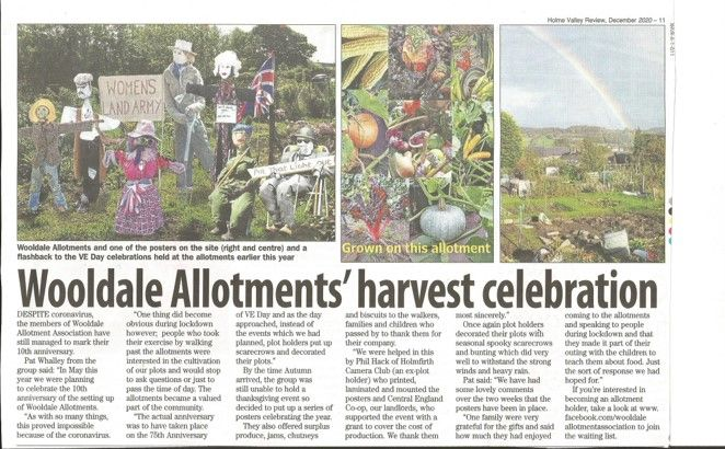 The Wooldale Allotment has become a local treasure during these difficult time.